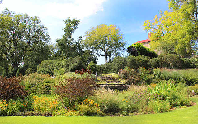Below The Formal Gardens Of The Mansion, Overlooking The Mustard Meadow And  The Ponds Of The Robinson Family Water Garden Is The Wills Perennial Garden.